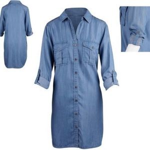 Philosophy Blue Chambray Tab Sleeve Shirt Dress-S